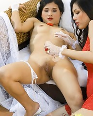 Horny Asian bride getting slit licked by her lesbians friend